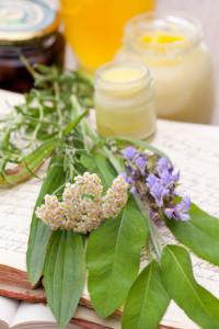 Alte Bücher mit Rezepten, Heilpflanzen und Salben